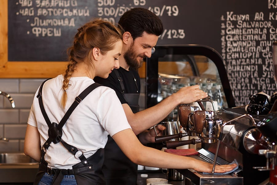 Baristas at small coffee shop